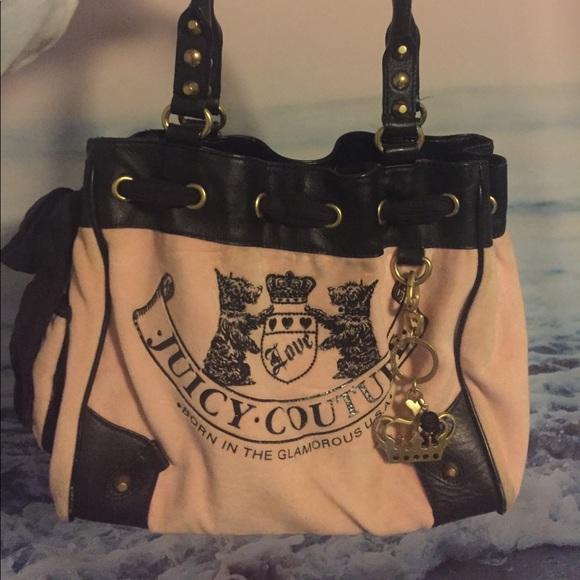 Juicy Couture Handbags - Classic Juicy contour pink velvet bag
